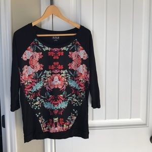 Floral baseball style top